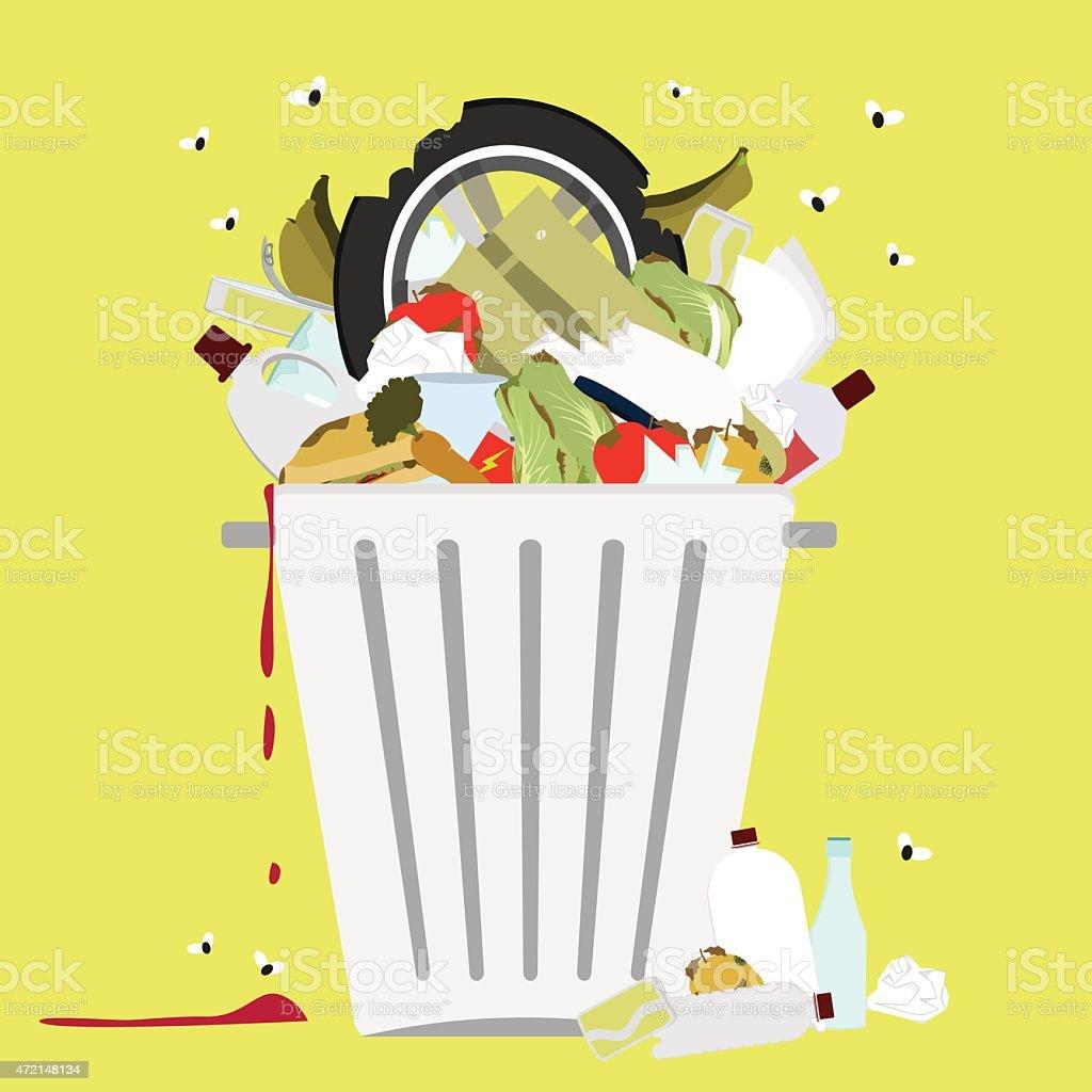 Garbage can full of trash vector art illustration