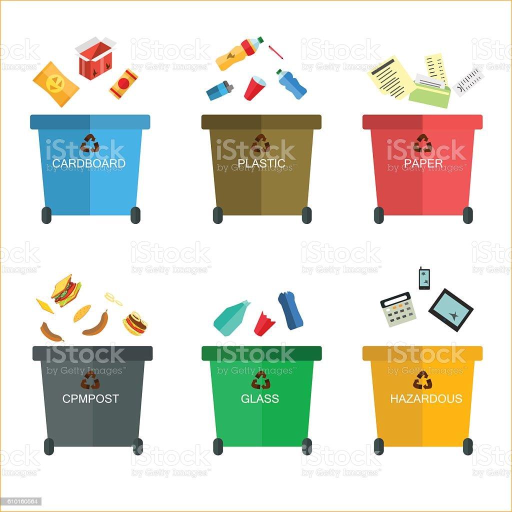 Garbage cans vector flat illustrations. vector art illustration