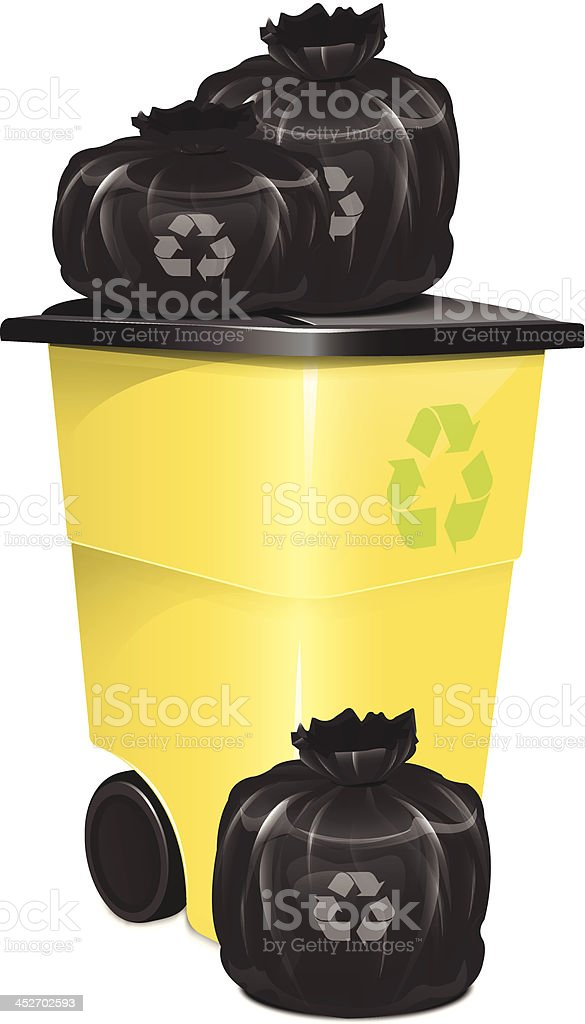 Garbage Container With Bag vector art illustration