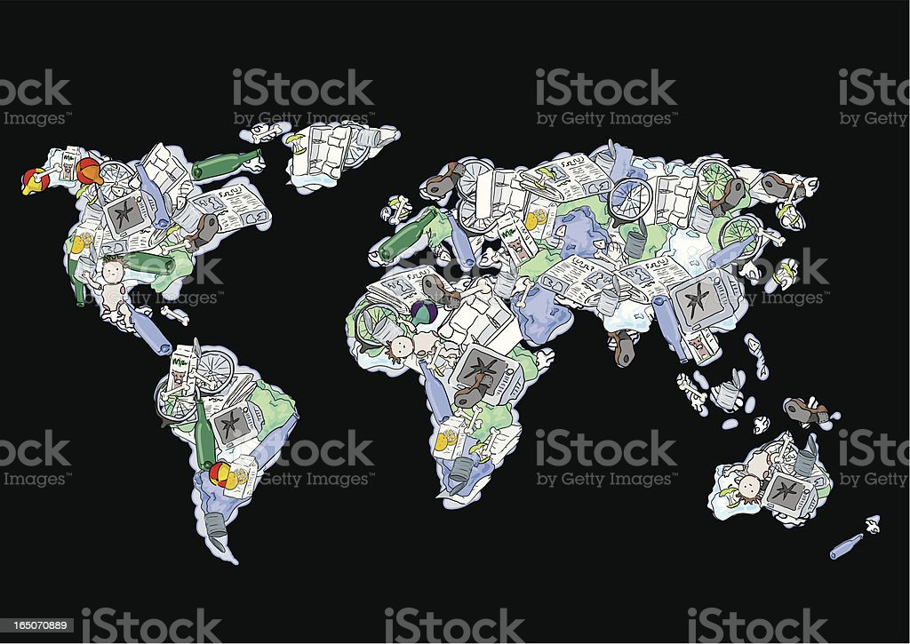 Garbage Globe, The Importance of Recycling-Earth day royalty-free stock vector art