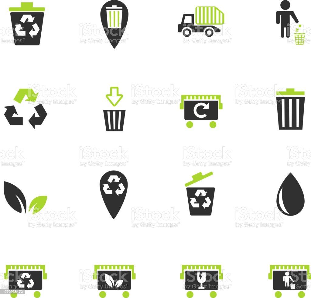 garbage icon set vector art illustration