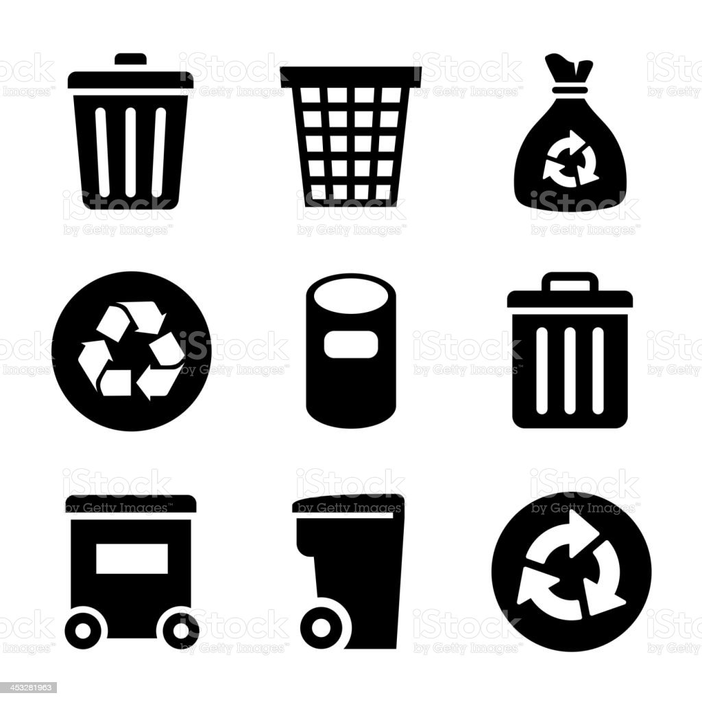 Garbage Icons set vector art illustration