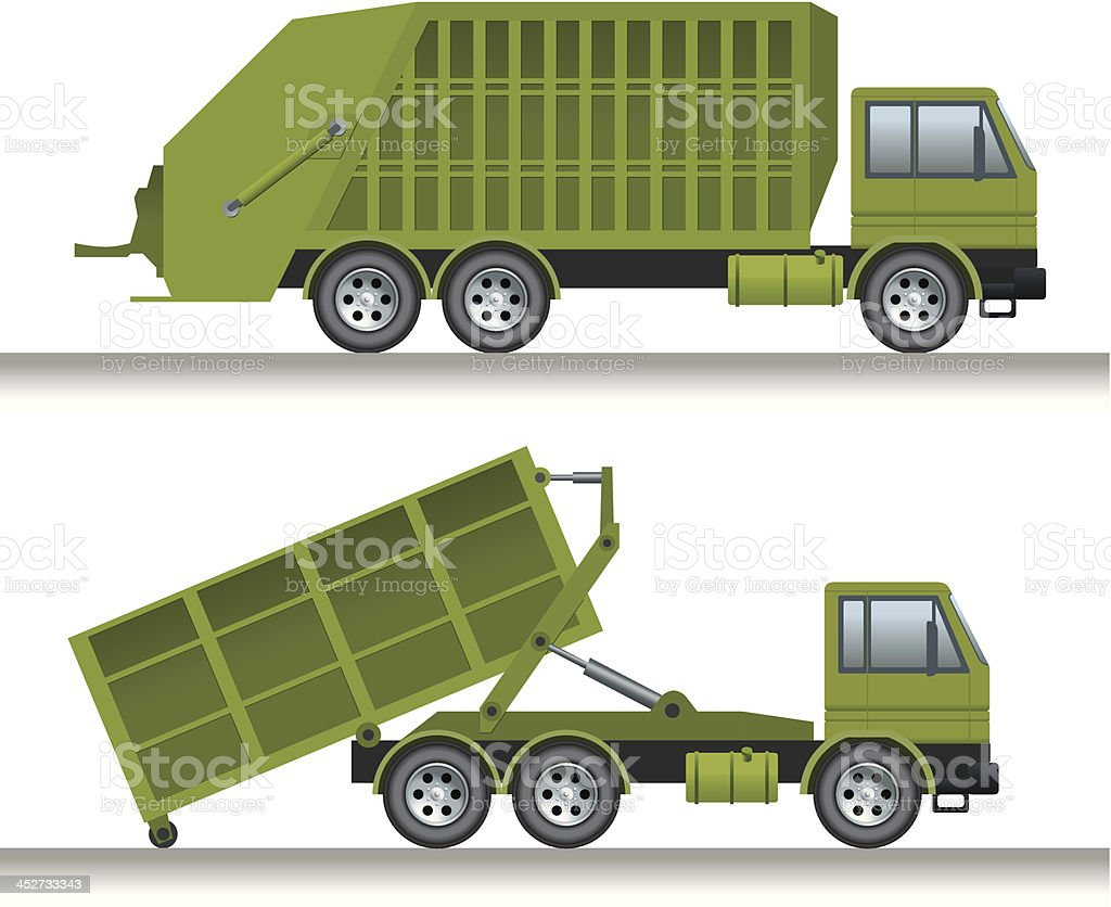 Garbage lorry and waste disposal truck royalty-free stock vector art