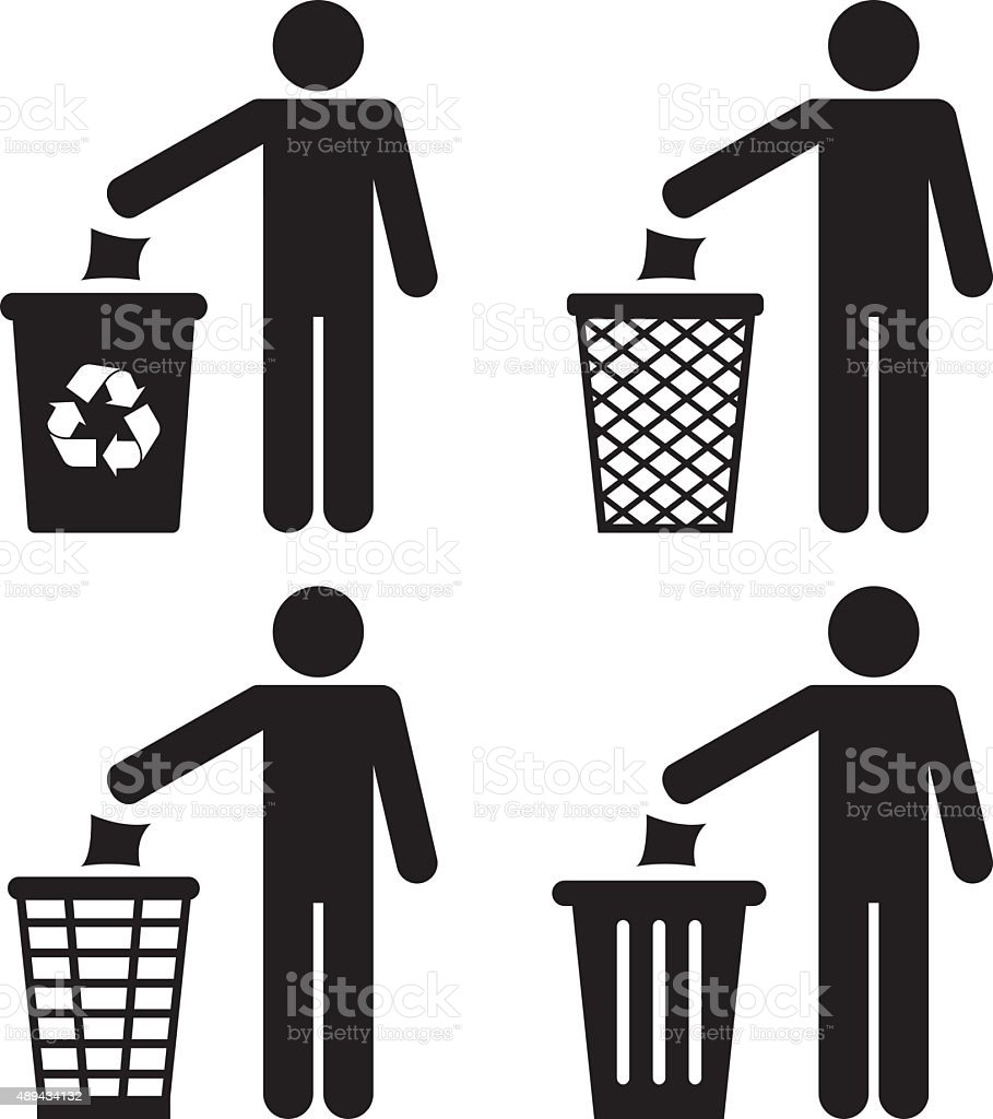 Garbage Recycling Icons vector art illustration