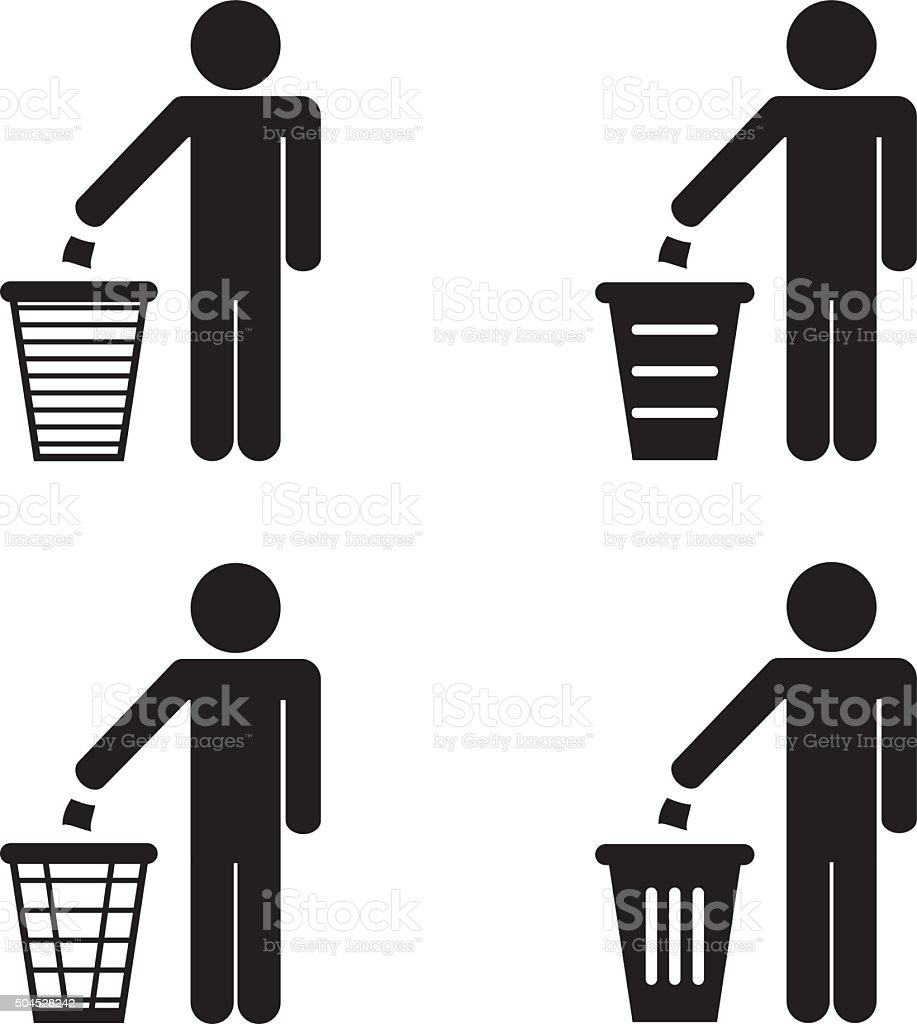 Garbage Recycling Sign vector art illustration