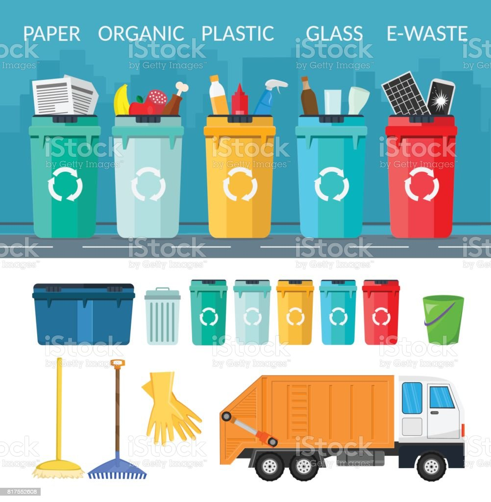 Garbage sorting bins infographic recycling concept ship the trash Ecology city flat background of set vector art illustration