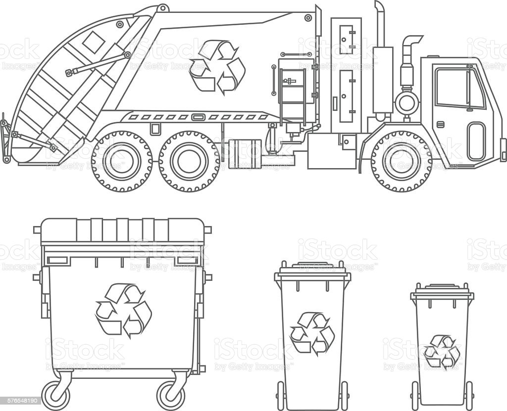 Garbage truck and three variants of dumpsters in flat style. vector art illustration