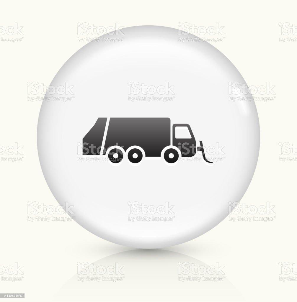 Garbage Truck icon on white round vector button vector art illustration