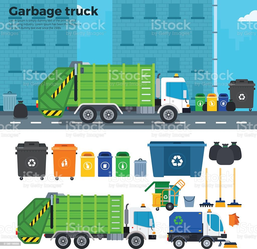 Garbage truck on the street near trash cans vector art illustration