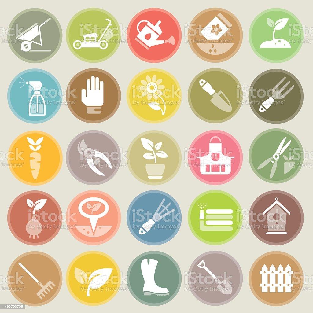 Garden and Gardening Tools Icons Set Circle Badges vector art illustration
