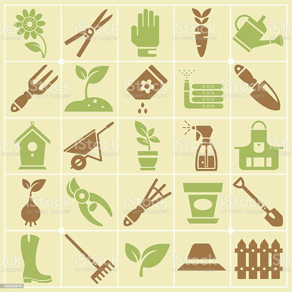 Garden and Gardening Tools Large Color Icon Set royalty-free stock vector art