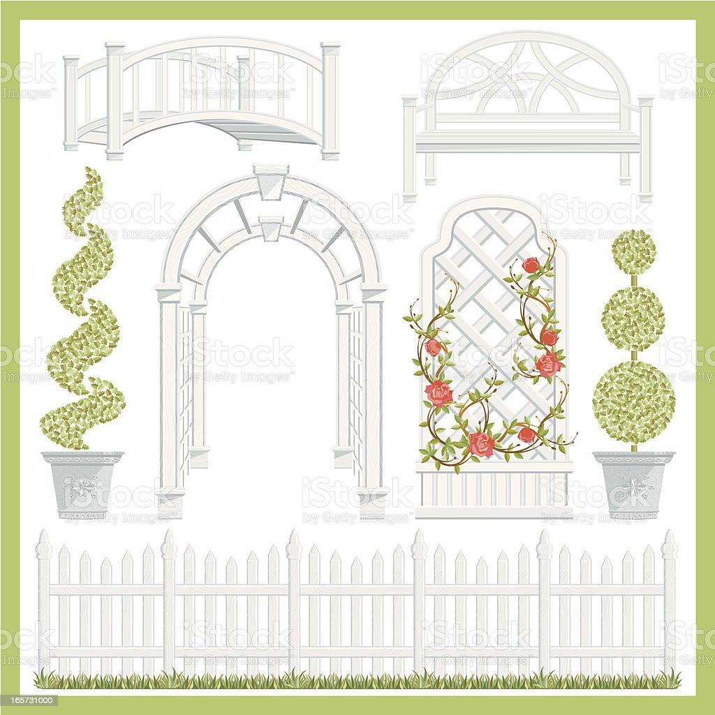 Garden Architecture Set vector art illustration
