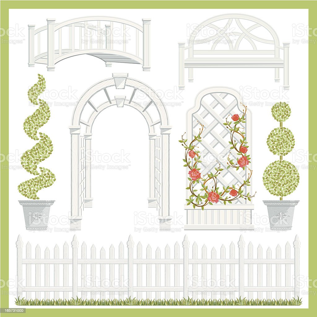 Garden Architecture Set vector art illustration