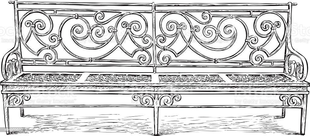 garden bench vector art illustration