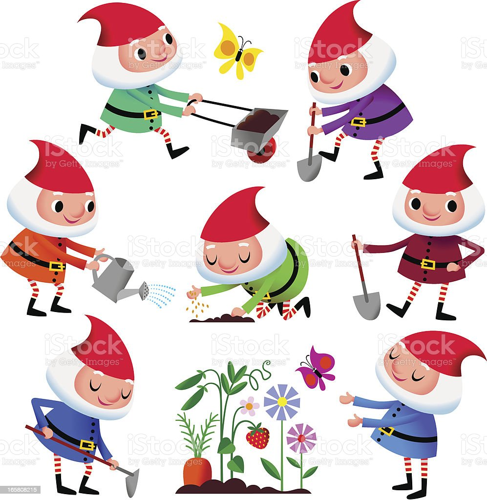 Garden Dwarfs. vector art illustration