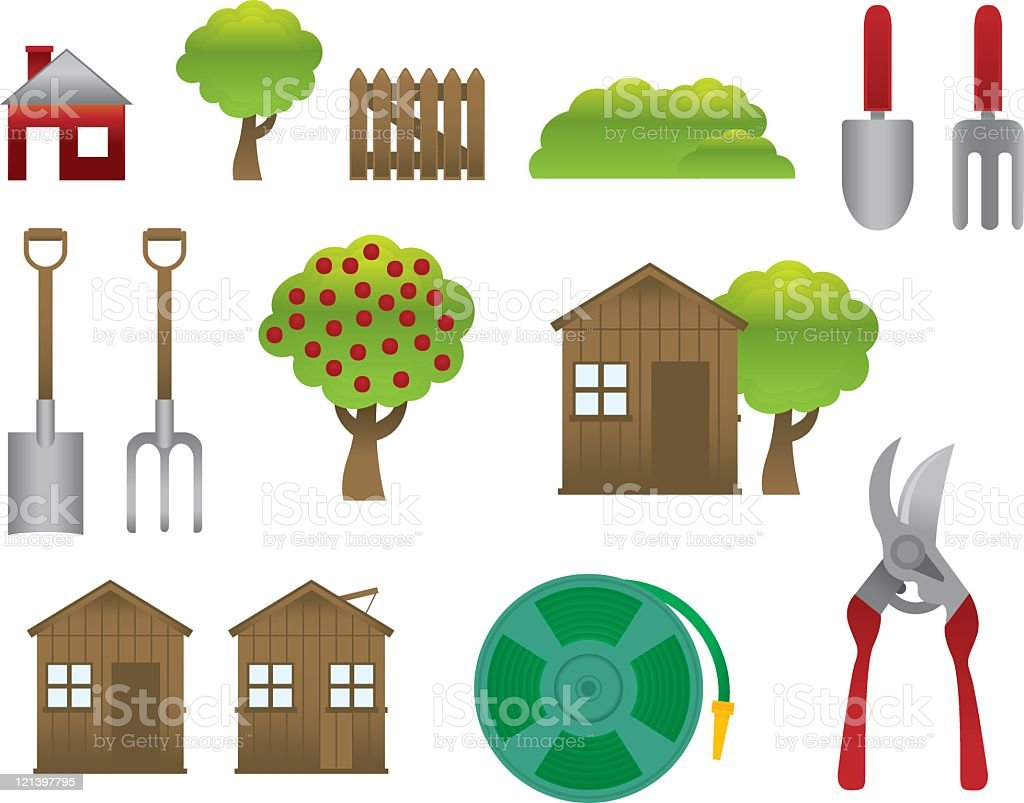 Garden elements vector art illustration