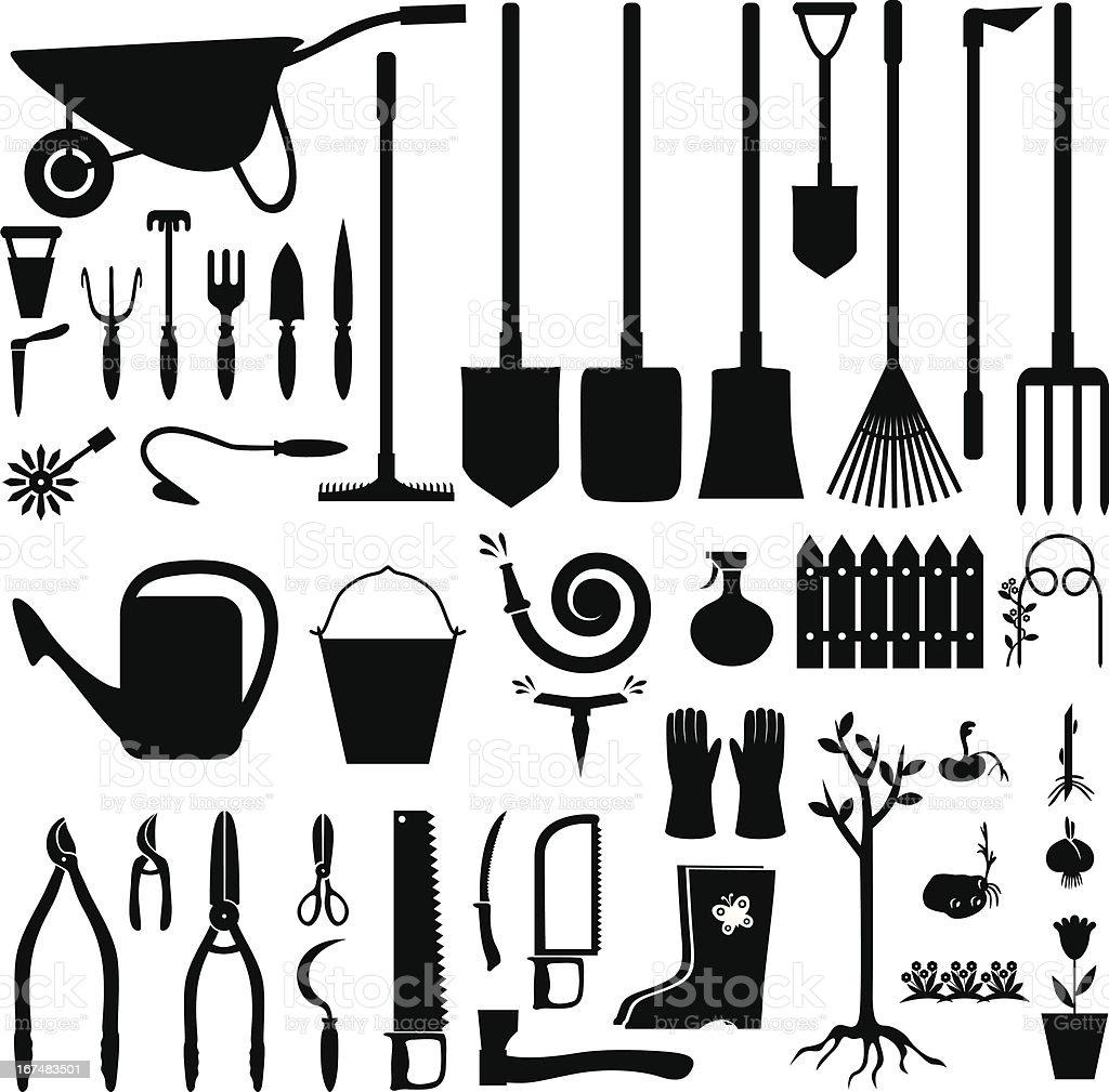 Garden equipment set vector art illustration