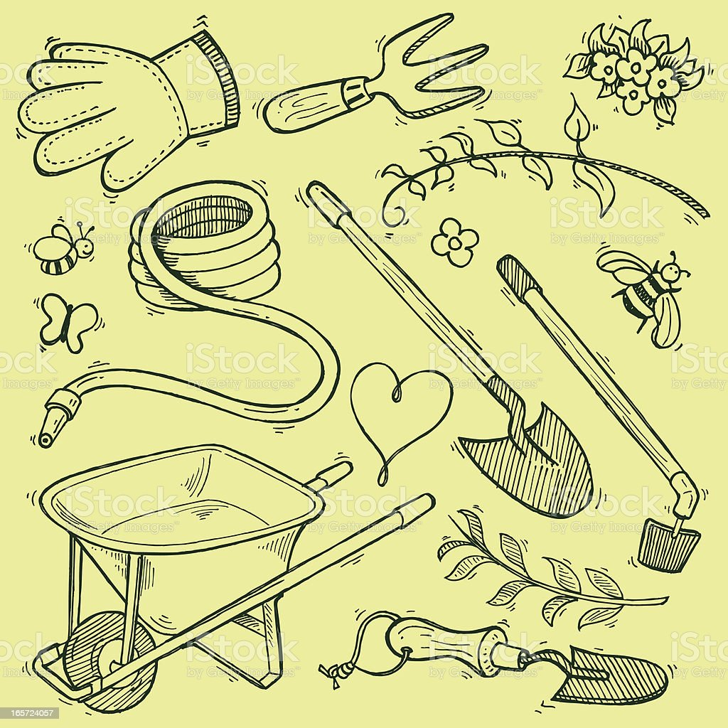 Garden Equipment Tools - Doodles for Spring royalty-free stock vector art