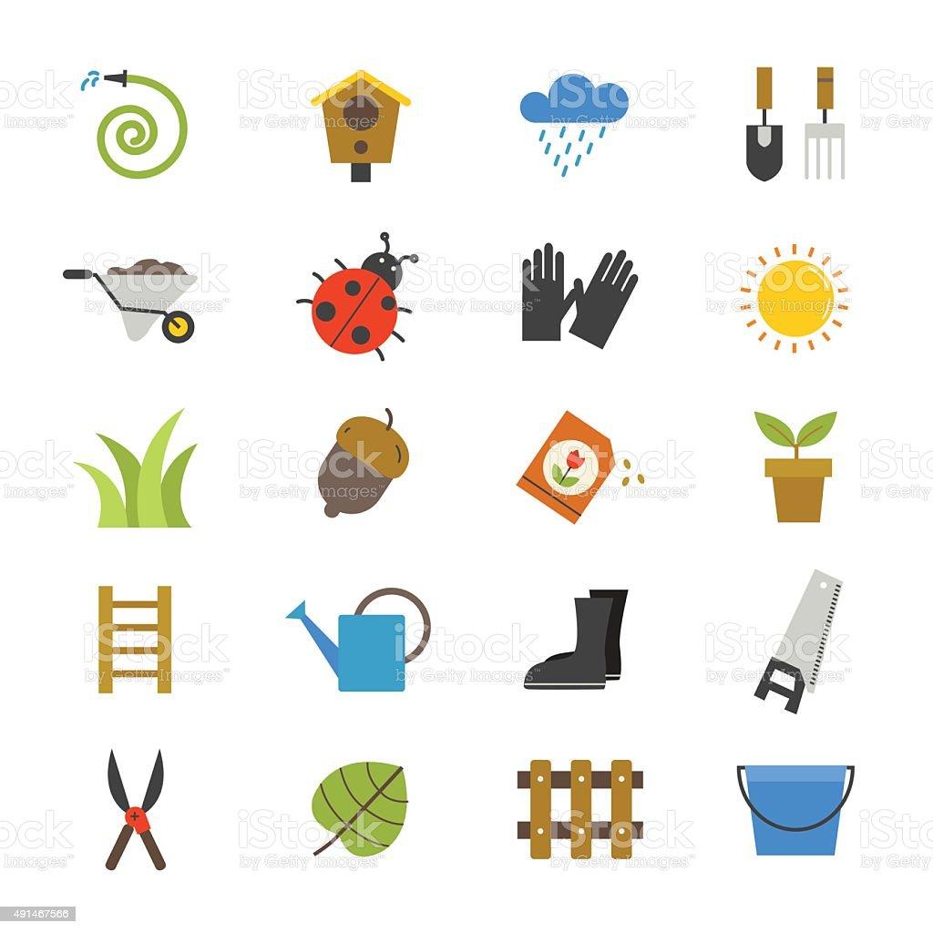 Garden Flat Icons color vector art illustration
