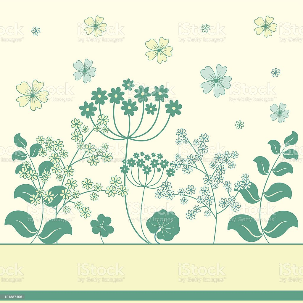 Garden flowers and herbs background. royalty-free stock vector art