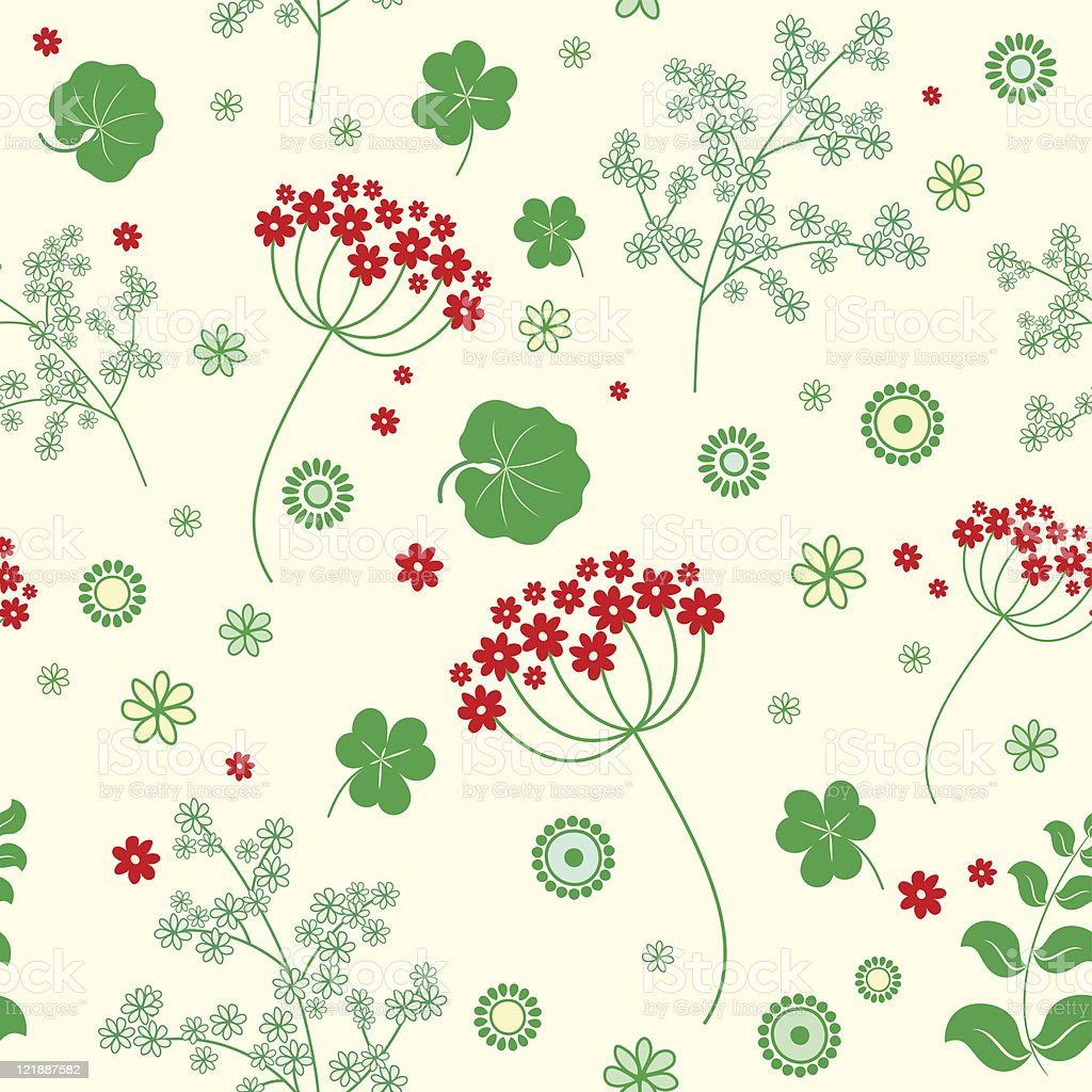Garden flowers and herbs seamless background. royalty-free stock vector art