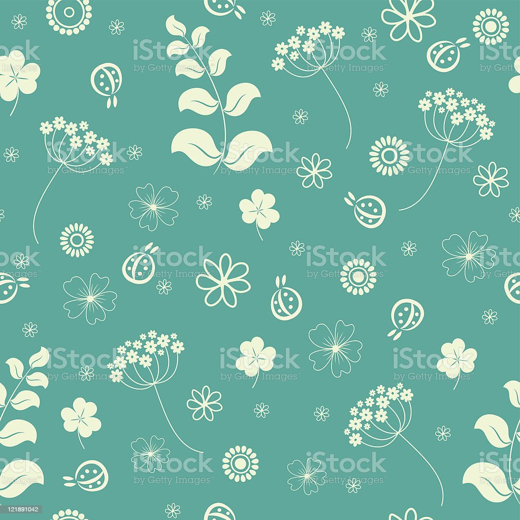 Garden flowers and herbs seamless background. Vector illustration. royalty-free stock vector art