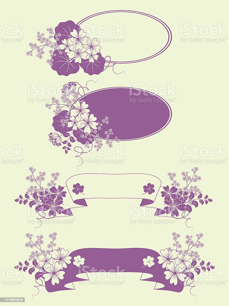 Garden flowers frames set. royalty-free stock vector art