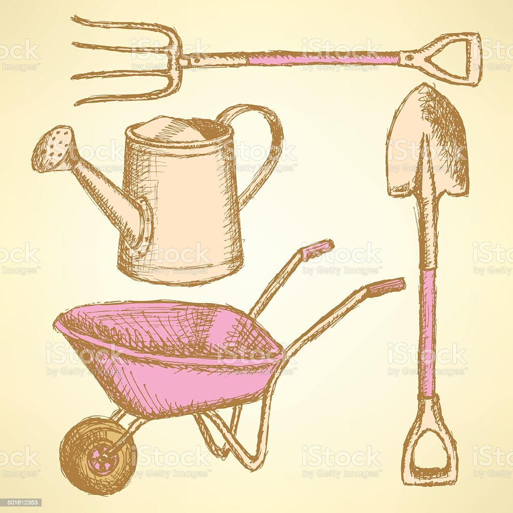 Garden fork, barrow, watering can and shovel,  background vector art illustration
