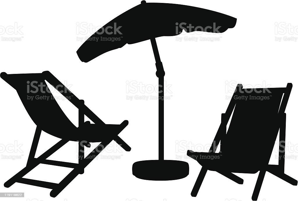 Garden furniture silhouettes vector art illustration