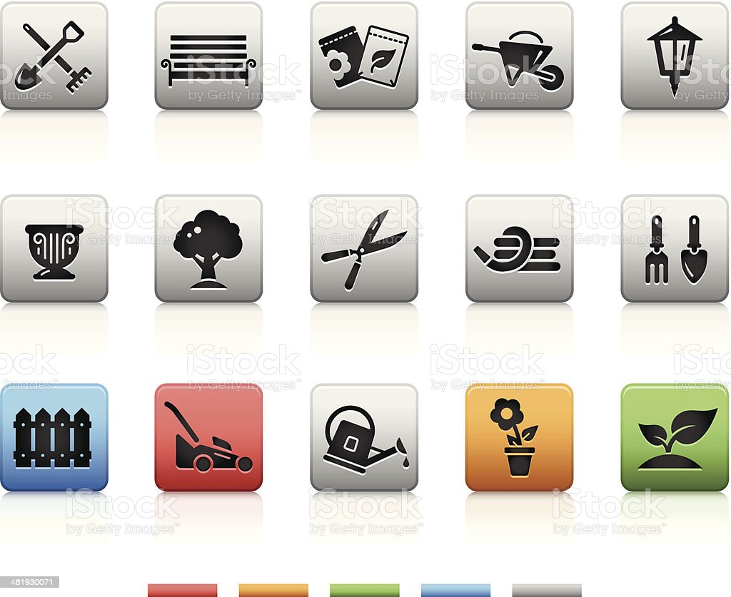 Garden & Gardening Icons | Square vector art illustration