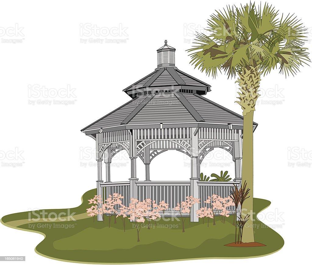 Garden Gazebo vector art illustration