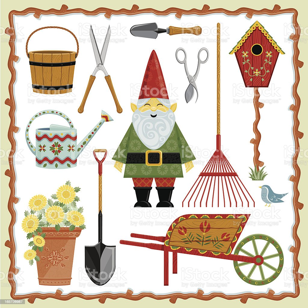 Garden Gnome and Tools vector art illustration