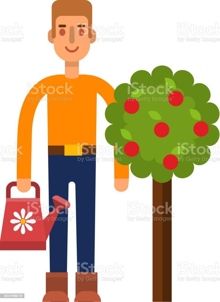 Garden harvest people vector character vector art illustration