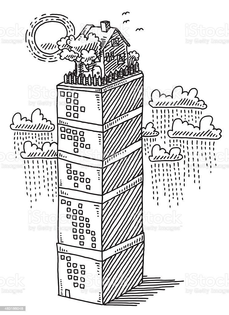 Garden House On Rooftop Of Skyscraper Drawing vector art illustration