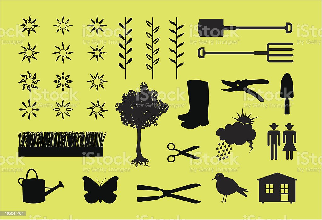 garden icons royalty-free stock vector art