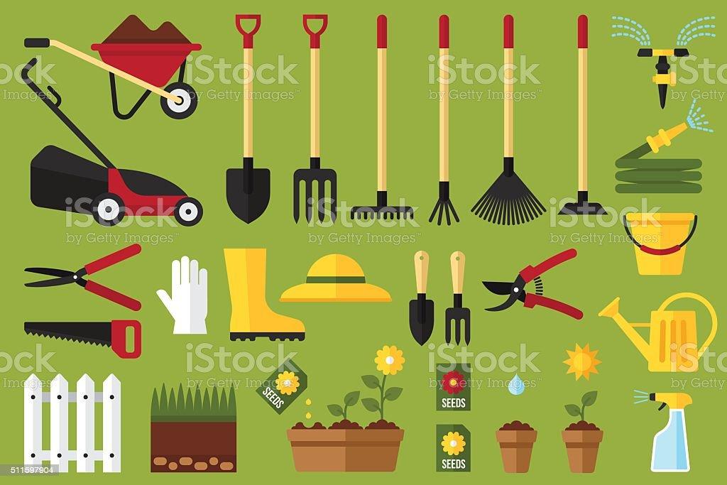 Garden icons vector art illustration