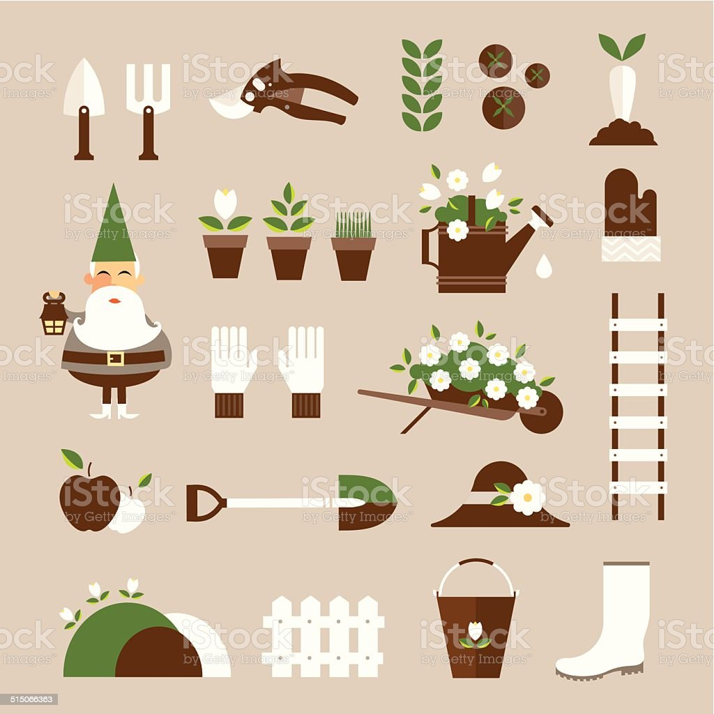 Garden icons vector art illustration