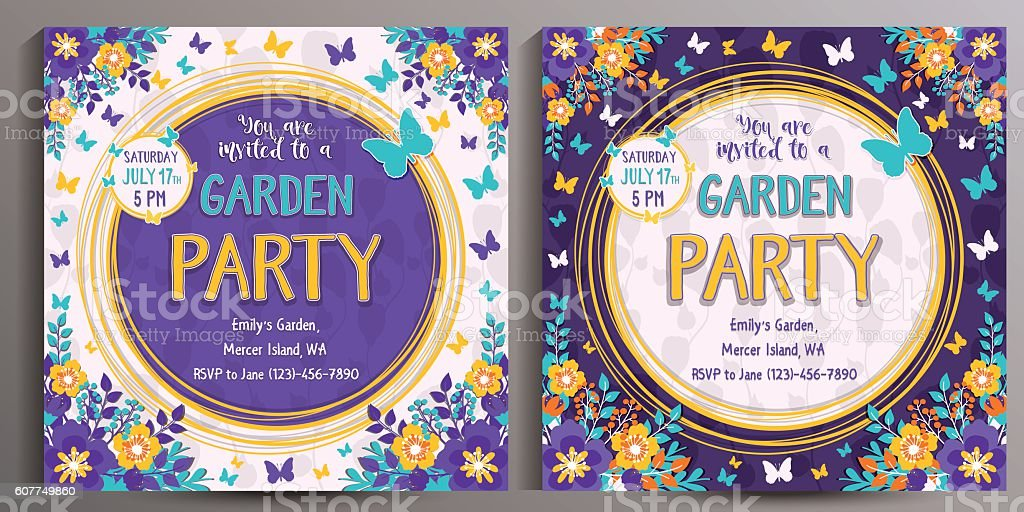 Garden Party Invitation. Set of two Floral square cards vector art illustration