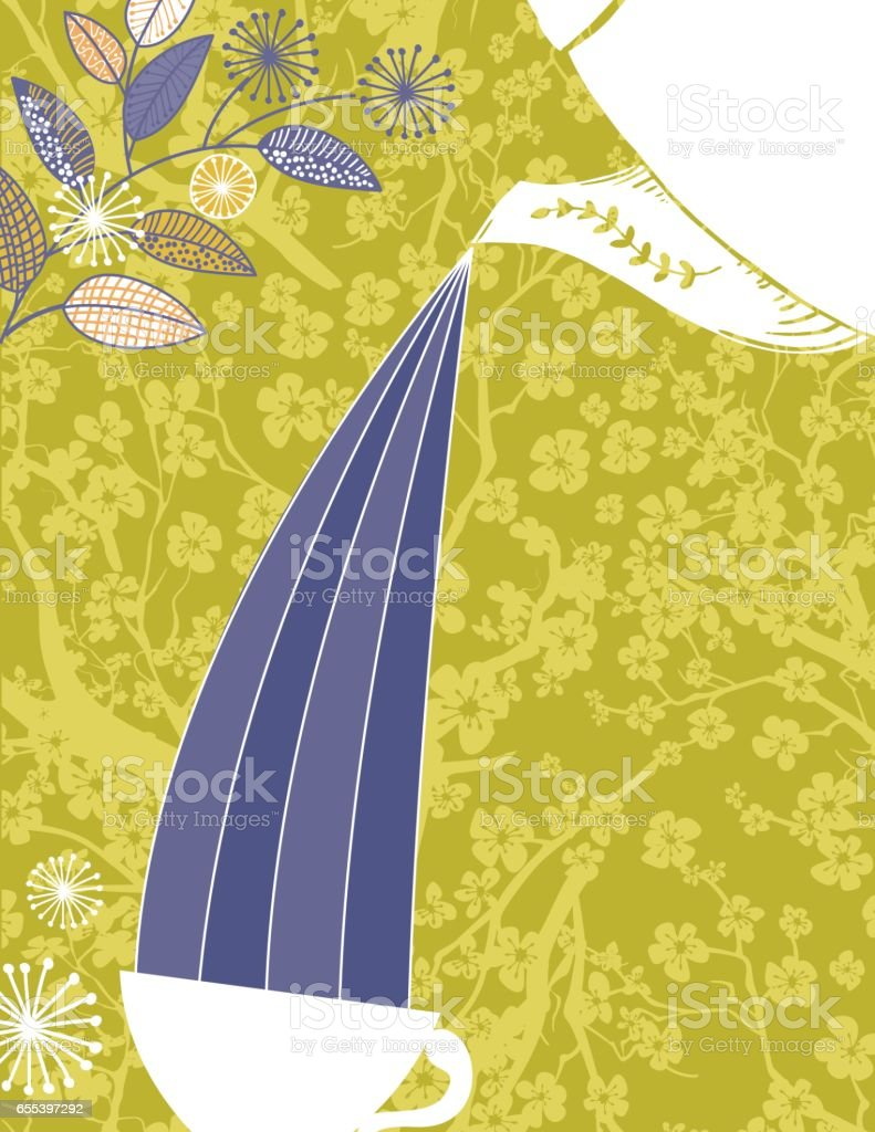 Garden Party or Afternoon Tea Background Template vector art illustration
