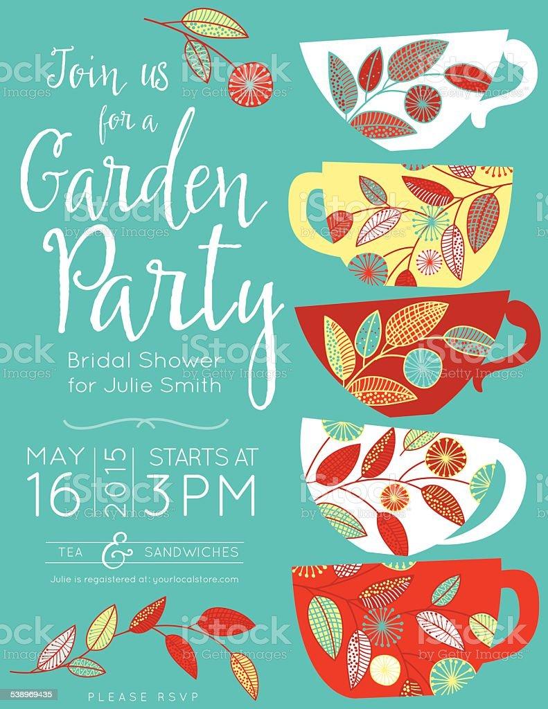 Garden Party Tea Bridal Shower Invitation Template vector art illustration