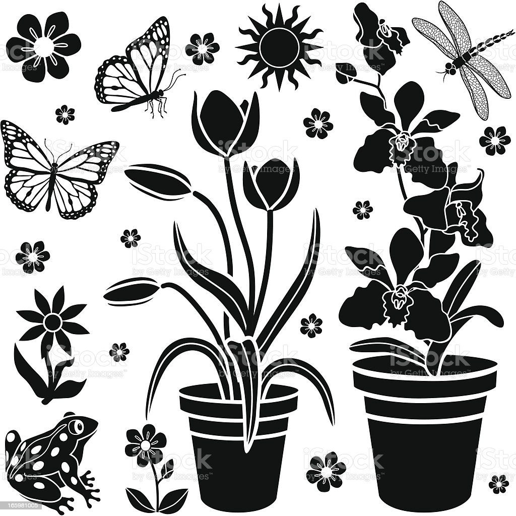 garden patio design elements vector art illustration