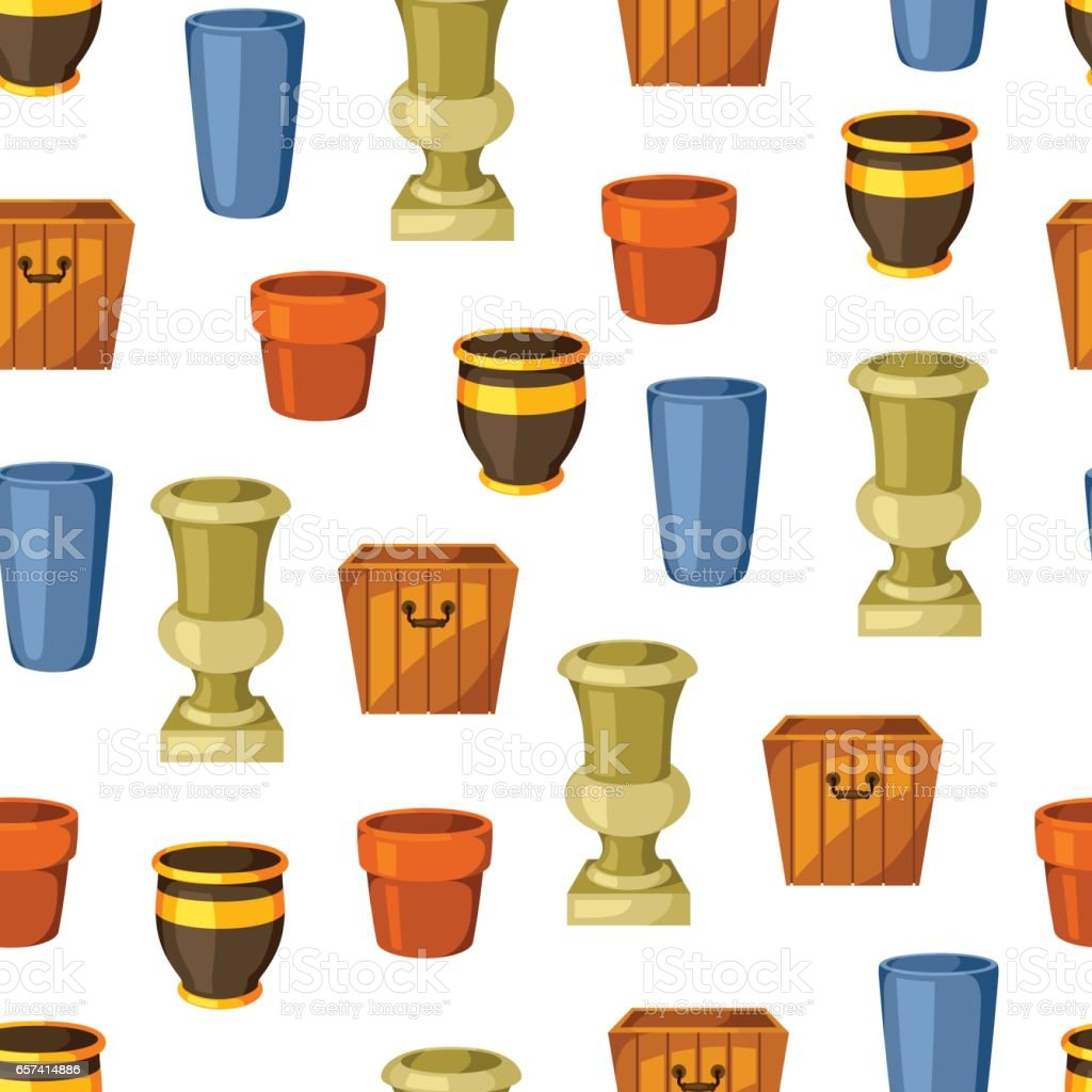 Garden pots. Seamless pattern with various color flowerpots vector art illustration