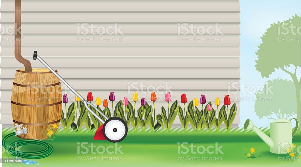 Garden Scene royalty-free stock vector art
