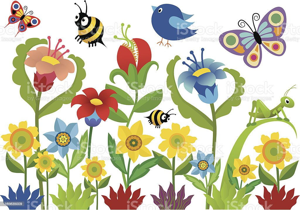 Garden Scene vector art illustration