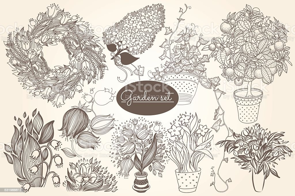 Garden set with 10 plants in flowerpot vector art illustration