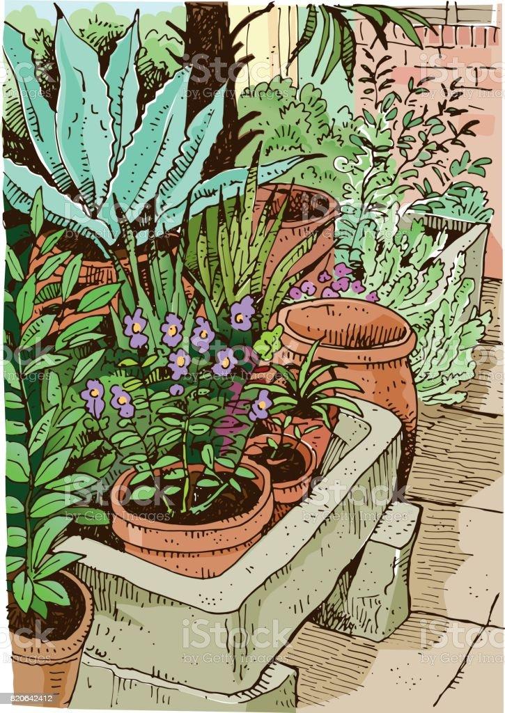 Garden sketch vector illustration vector art illustration
