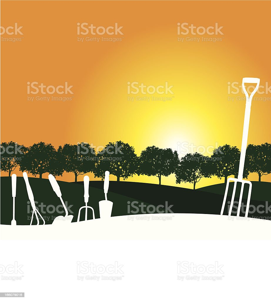 Garden Sunrise Background royalty-free stock vector art