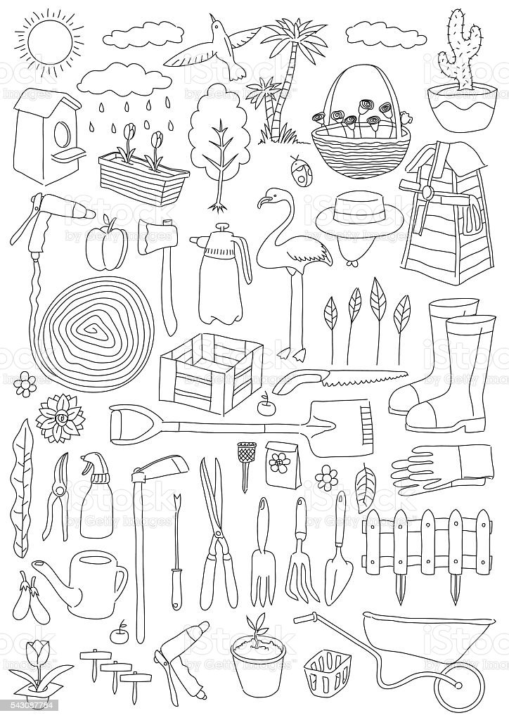 Garden Themed Doodle Set Various Equipment And Facilities For