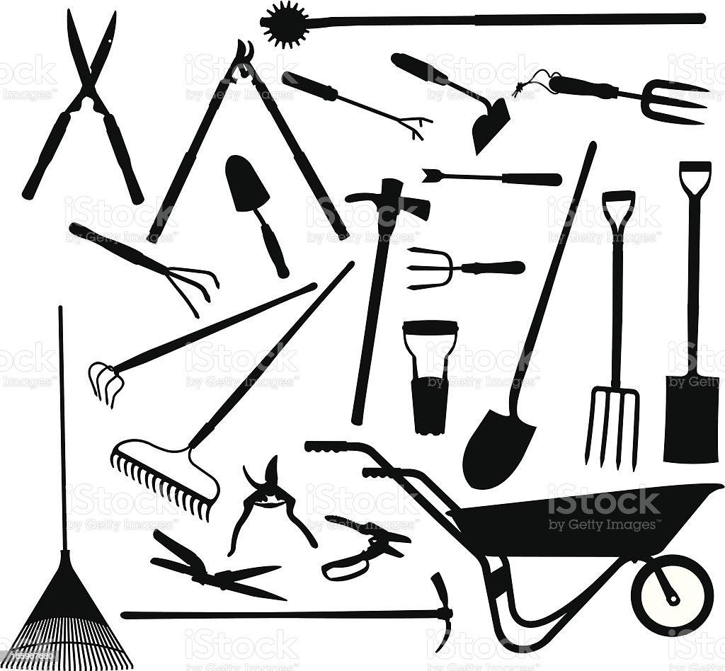 Garden Tools - Digging & Pruning Equipment vector art illustration