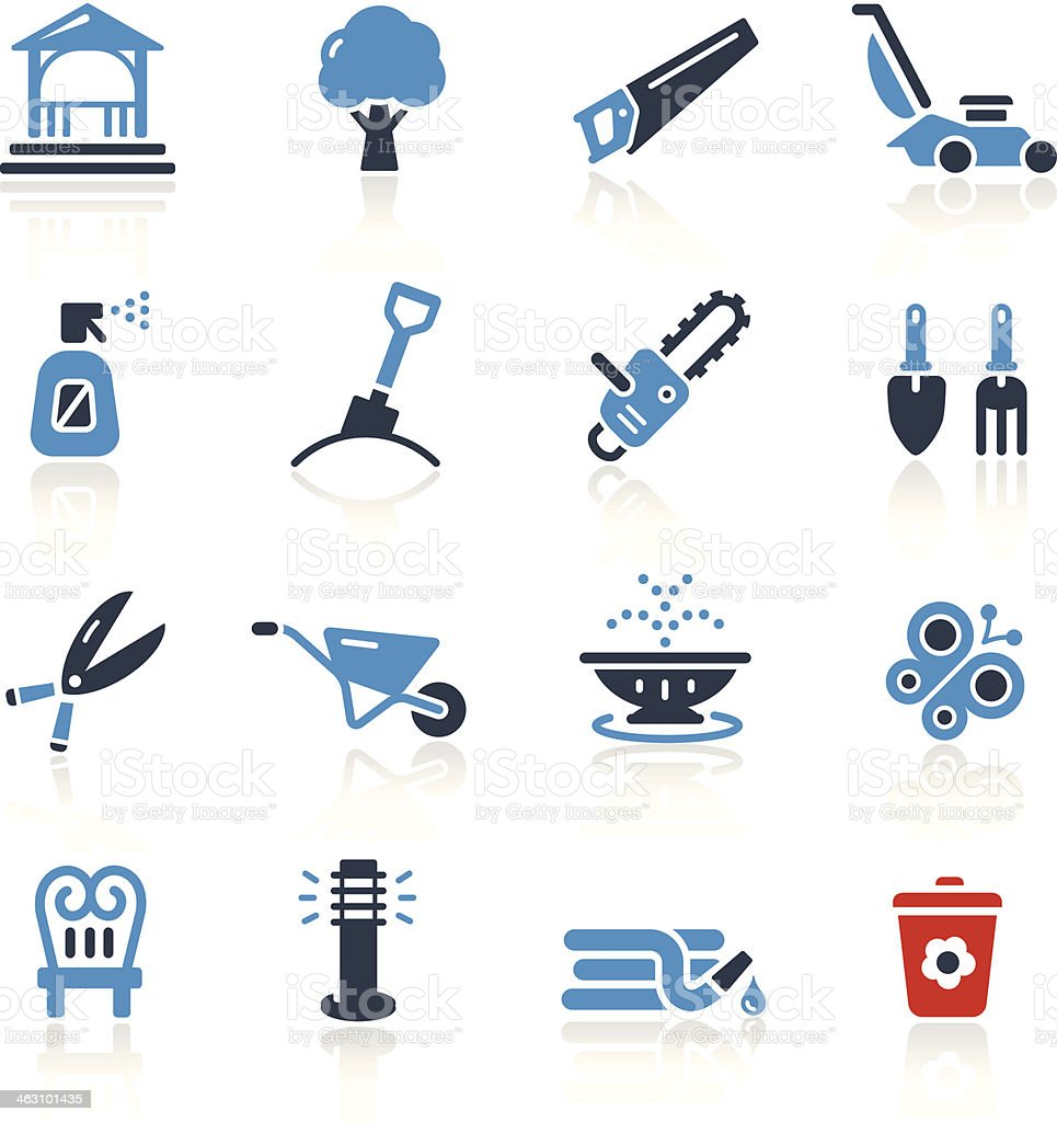 Garden Tools & Furniture Icons- Two Colors | Pro Series vector art illustration